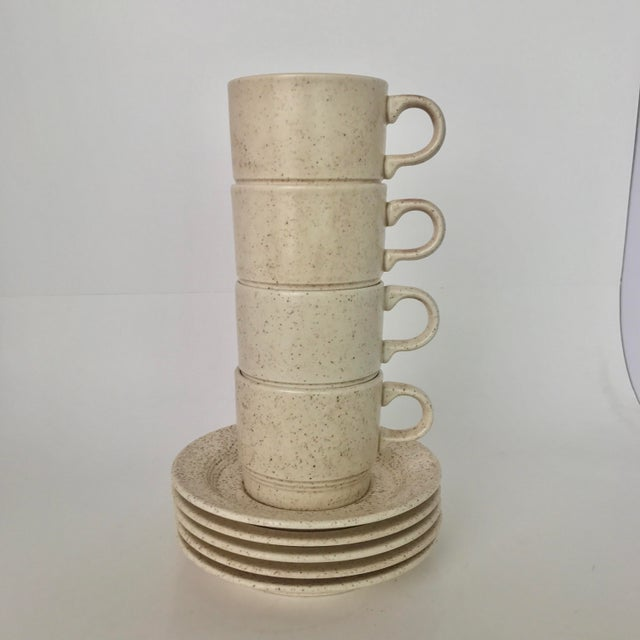 Homer Laughlin Mid-Century Modern Coffee Cups & Plates - Set of 4 - Image 5 of 6