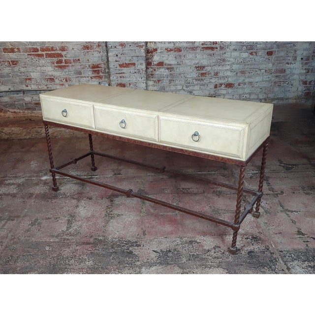 Vintage Wrought Iron & Leather Top Sofa Table Console For Sale - Image 11 of 11