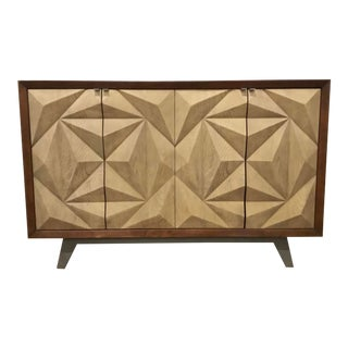 Modern Geometric Three Dimensional Wood Cabinet For Sale