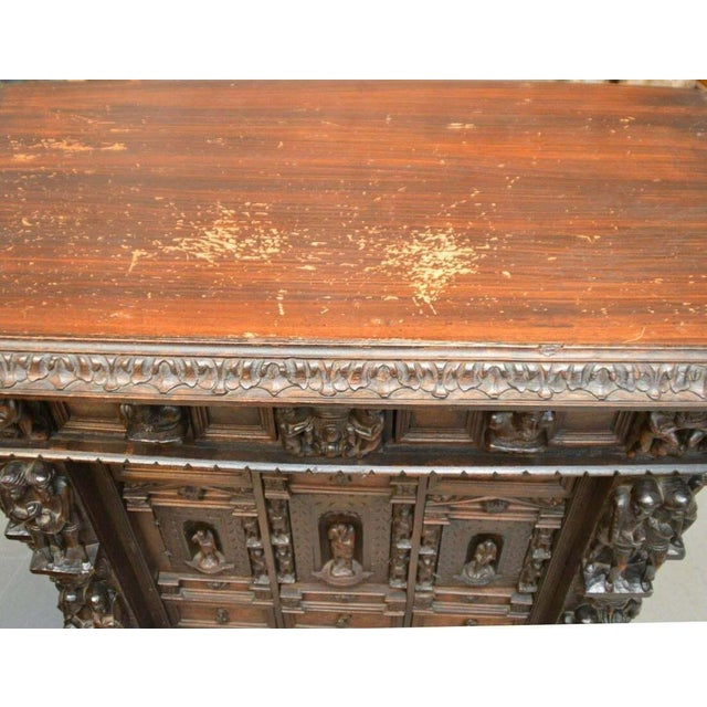 "Antique Heavily Carved Continental Court Two Piece 65"" Cabinet/Cupboard For Sale - Image 11 of 13"