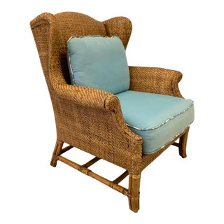 Baker Milling Road Rattan Wing Chair For Sale