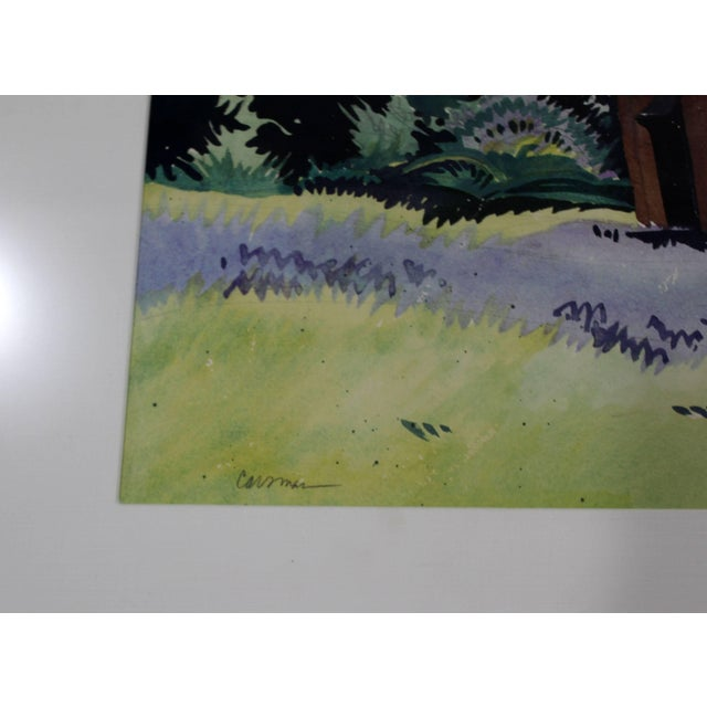 "1980s Mid-Century Modern ""Blue Bells"" Watercolor Painting by Jon Carsman For Sale - Image 4 of 7"