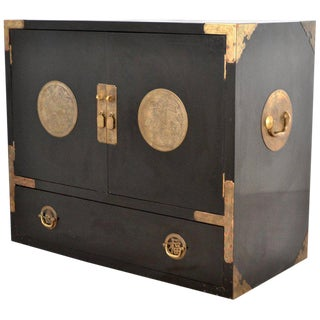 Mid-Century Black Lacquered Asian Campaign Chest For Sale