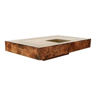 Aldo Tura Substantial Goat Skin Coffee Table For Sale
