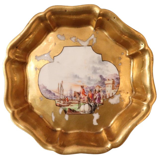 18th Century Gilded Collectible Antique Porcelain Plate Meissen, 1720s For Sale