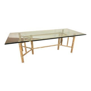McGuire Rectangular Bamboo and Rawhide Dining Table With a Beveled Glass Top For Sale
