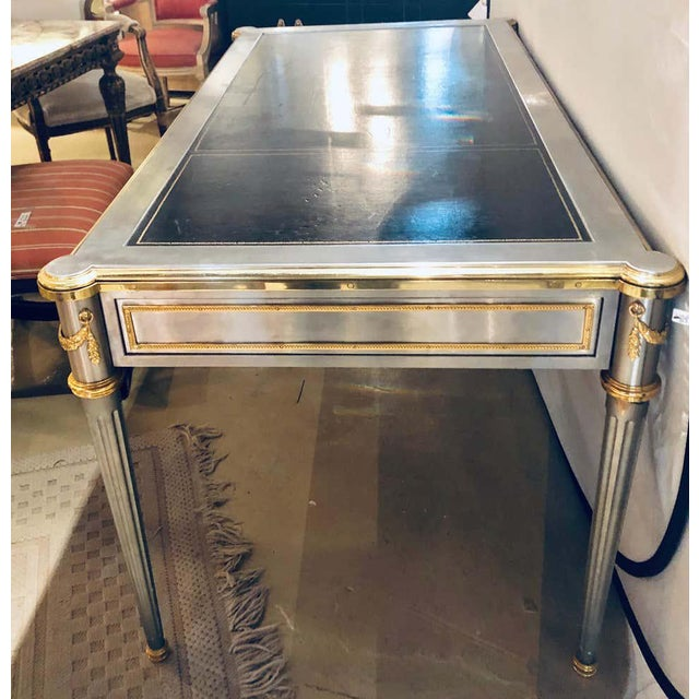 Bronze French Maison Jansen Stainless Steel Nickel-Plated Bronze Desk or Bureau Plat For Sale - Image 8 of 12