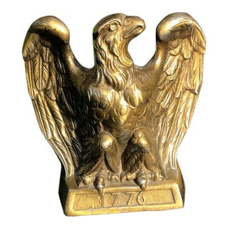 Vintage Colonial Virginia Hampton Brass Eagle Bookend, Signed For Sale