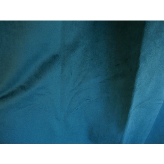 2010s Custom Blue Green Velvet Curtains - a Pair For Sale - Image 5 of 6