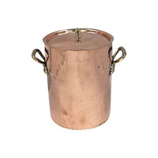 Vintage French Hammered Heavy Copper Stock Pot For Sale