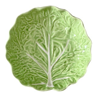 Vintage Majolica Small Green Cabbage Leaf Bowl From Portugal For Sale