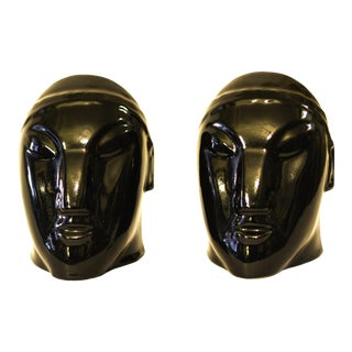 Art Moderne Style Glossy Black Ceramic Masks - a Pair For Sale