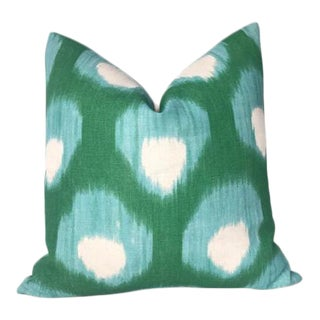 Bukhara Printed Pillow Cover in Blue Green For Sale