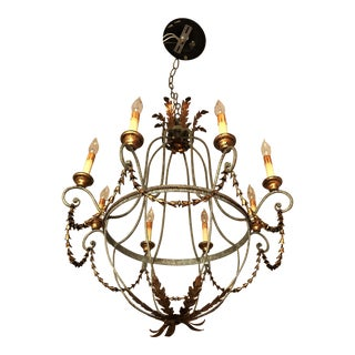 Vintage Galvanized Gold 8-Light Chandelier With Tulip Chain and Acanthus Leaf Details For Sale