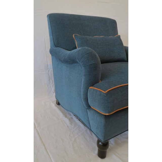 Custom Upholstered Teal Blue Armchair - Image 5 of 7