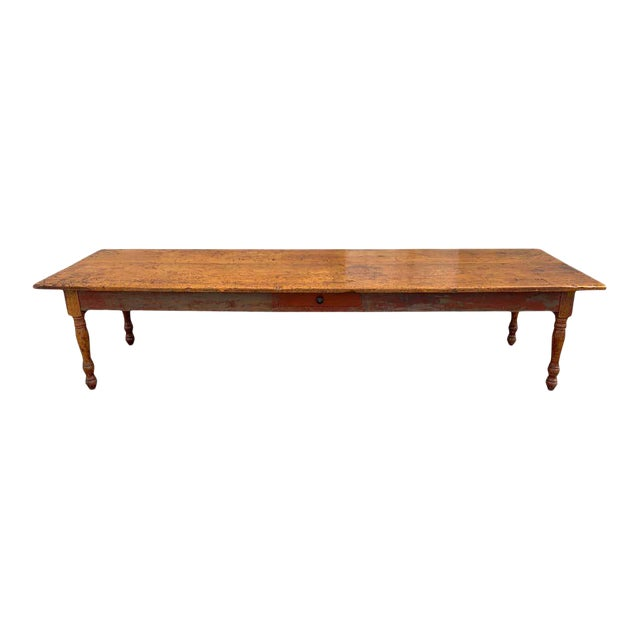 Late 19th Century Southern Red Paint and Chestnut Farm Table For Sale