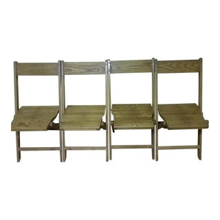 1940s Snyder Wooden Folding Chairs - Set of 10 For Sale