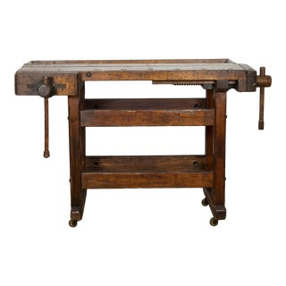 Black Walnut and Douglas Fir American Carpenter's Workbench C.1900 For Sale