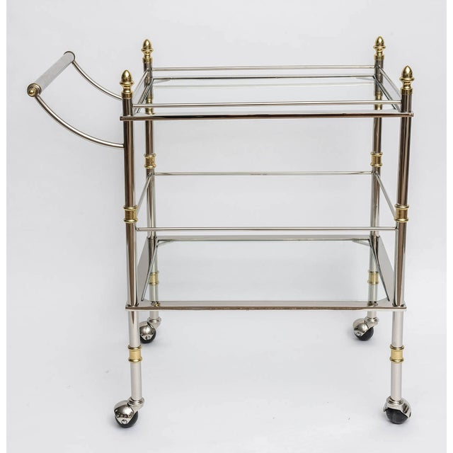 Nickel and Brass Bar/Serving Cart - Image 3 of 5