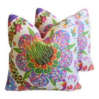 "Designer Josef Frank Floral Linen & Velvet Feather/Down Pillows 21"" Square - Pair For Sale"