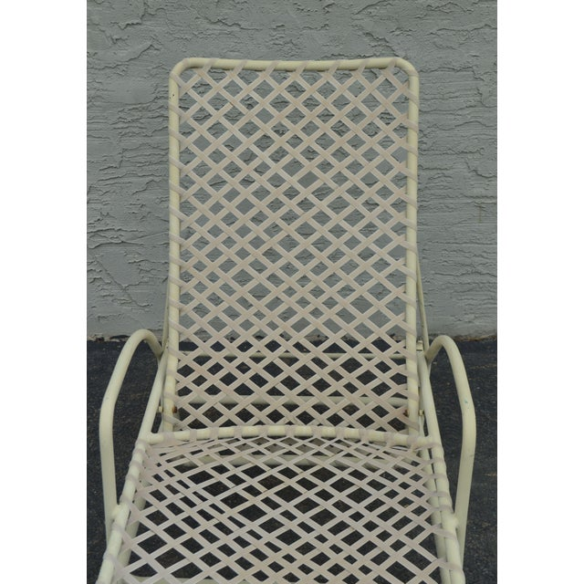 White Vintage Brown Jordan Tamiami Vinyl Lace Patio Chaise Lounge For Sale - Image 8 of 13