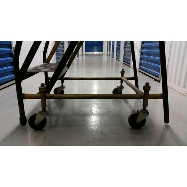 Mid 20th Century Vintage Industrial Steel Rolling Ladder For Sale - Image 5 of 6