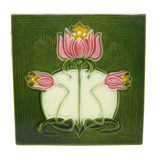 Green Tile With Pink Flowers - Image 1 of 4
