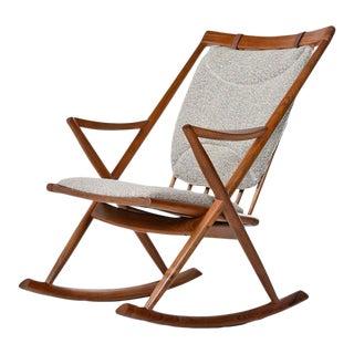 Paddle Spindle Back Frank Reenskaug for Bramin Danish Teak Rocking Chair For Sale