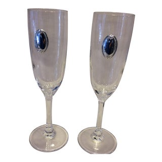 Valenti Vintage Crystal Flutes - A Pair For Sale