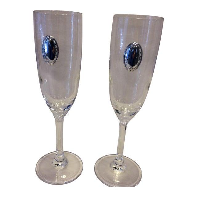 Valenti Vintage Crystal Flutes - A Pair For Sale