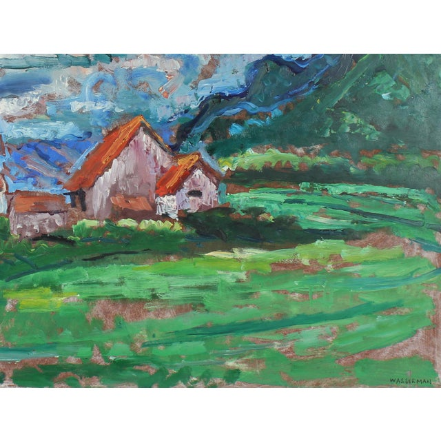 This mid 20th century oil on masonite landscape with houses and a barn is by Monterey/ Carmel artist of Russian descent,...