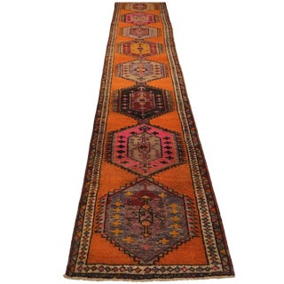 Super-Long Vintage Tangerine and Pink Turkish Carpet Runner | 3'1 X 18' For Sale