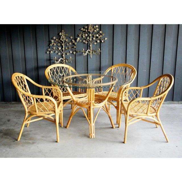 Boho Chic Diamond Pattern Rattan Dining Set With 4 Armchairs, Set of 5 For Sale - Image 13 of 13