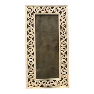 Vintage Eglomise Mirror With Carved Wood Frame For Sale