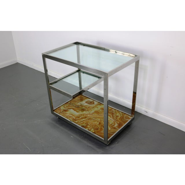 Mid-Century Chrome Glass & Onyx Bar Cart - Image 4 of 8