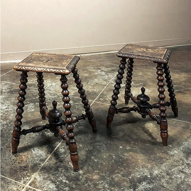 Pair 19th Century Hand Carved Spool Leg Stools For Sale - Image 4 of 12