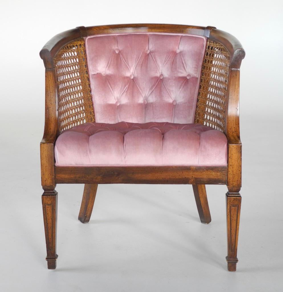 Beautiful Mid Century Modern French Provincial Cane Barrel Chair With  Original Tufted Back In A