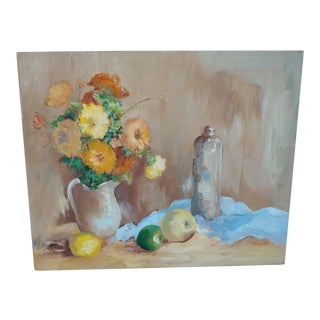 1970s Floral Still Life Oil Painting by P. Bogart For Sale