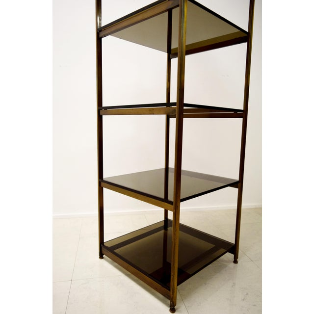 Vintage Brass and Smoked Glass Etagere Shelf For Sale - Image 5 of 7