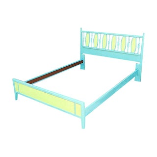 Mid-Century Blue & Green Full-Size Bedframe For Sale