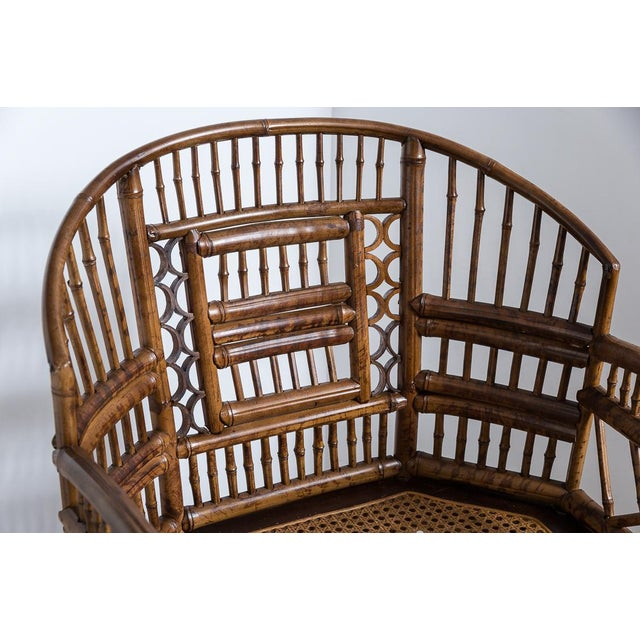 Wood Brighton Bamboo Barrel Chairs by Thomasville Old Label, , A-Pair For Sale - Image 7 of 12