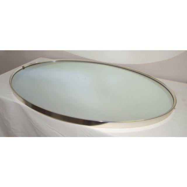 Mid-Century Modern Turner Mfg. Oval Chrome Mirror For Sale In Chicago - Image 6 of 13