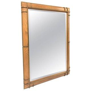 Henredon Oak and Bronze Trim Mirror For Sale