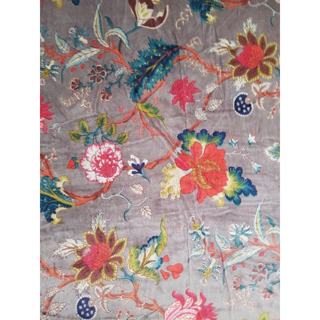 3 Yards Finest quality thick cotton velvet with hand block print design. perfect for upholstery, drapes, clothing or pillows
