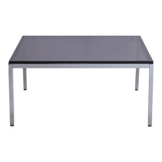 Minimalist Square Chrome Cocktail Table with Smoke Glass For Sale
