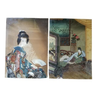 19th Century Chinese Revers Painted Glass Pictures For Sale