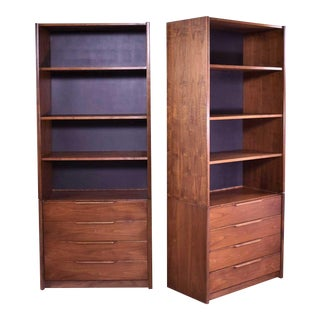 Pair of Walnut Scandinavian Modern Style Bookcase Storage Units by Barzilay Furniture For Sale