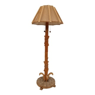 1960s Italian Hollywood Regency Carved Wood Sculptural Floor Lamp For Sale