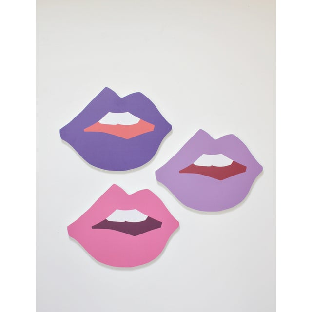 "Contemporary Large ""Kiss Me"" Ultraviolet Cutout Prints by Angela Chrusciaki Blehm - Set of 3 For Sale - Image 3 of 3"