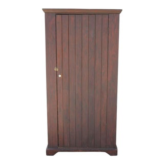 Original Brown Painted 19th Century Pennsylvania Wall Cupboard For Sale